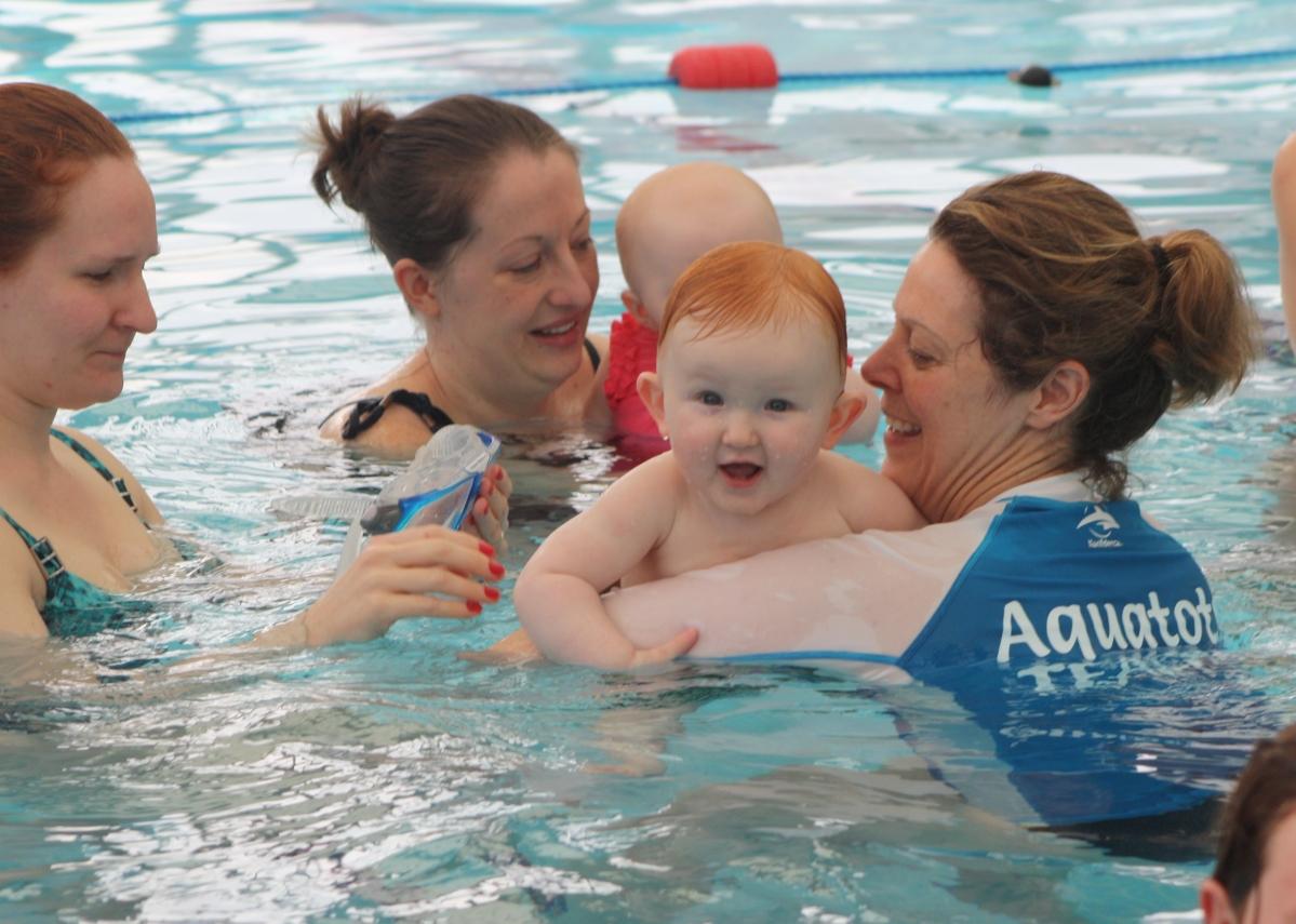 Aquatots teacher Gill Skelton enjoying all of her Aquatots